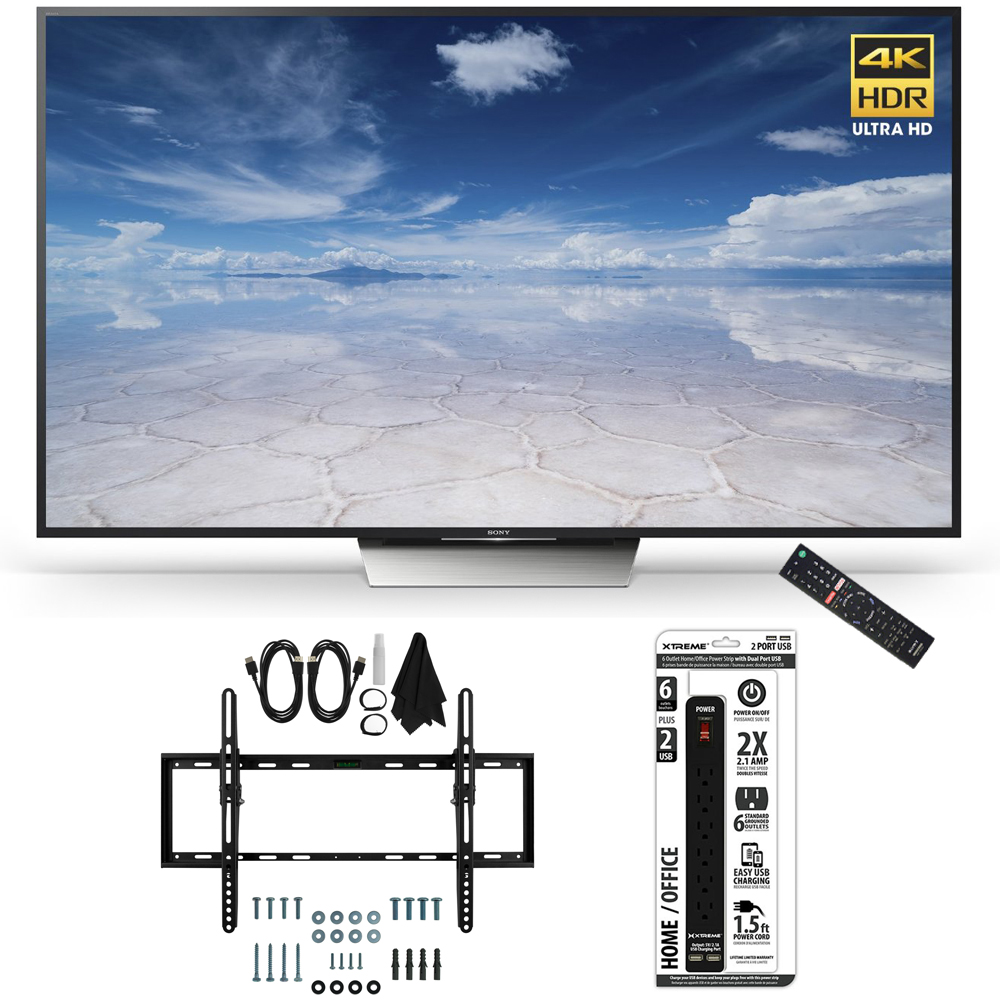 Sony XBR-55X850D 55-Inch Class 4K HDR Ultra HD TV Flat + Tilt Wall Mount Bundle includes TV, Ultimate Mount Kit and Power Strip with USB Ports