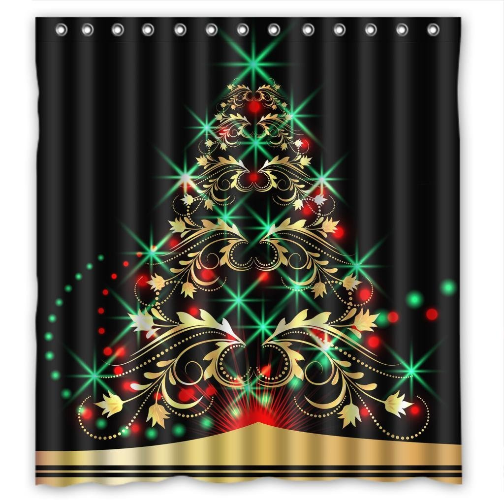 GreenDecor Merry Christmas Waterproof Shower Curtain Set with Hooks Bathroom Accessories Size 66x72 inches