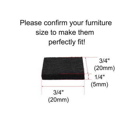 "Felt Pad Square 3/4"" Self Sticky for Floor Protector Desk Leg Black, 150pcs - image 5 de 7"