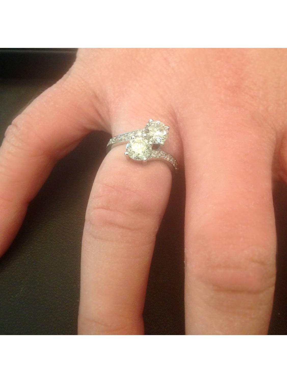 Pompeii3 2 Carat Forever Us Two Stone Engagement Diamond Solitaire Stocking Ring 9919 14k White Gold