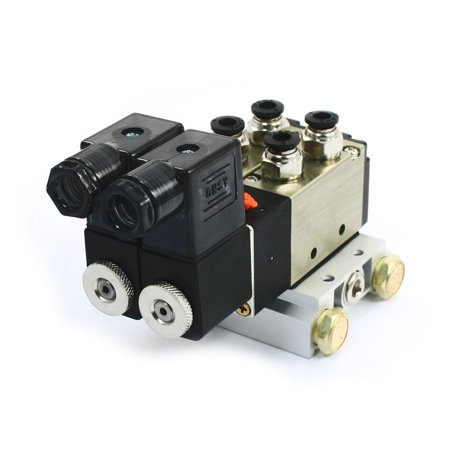 DC12V 3W 2Position 5 Way Double Solenoid Valve w Base Push In Connector Silencer - image 1 de 1