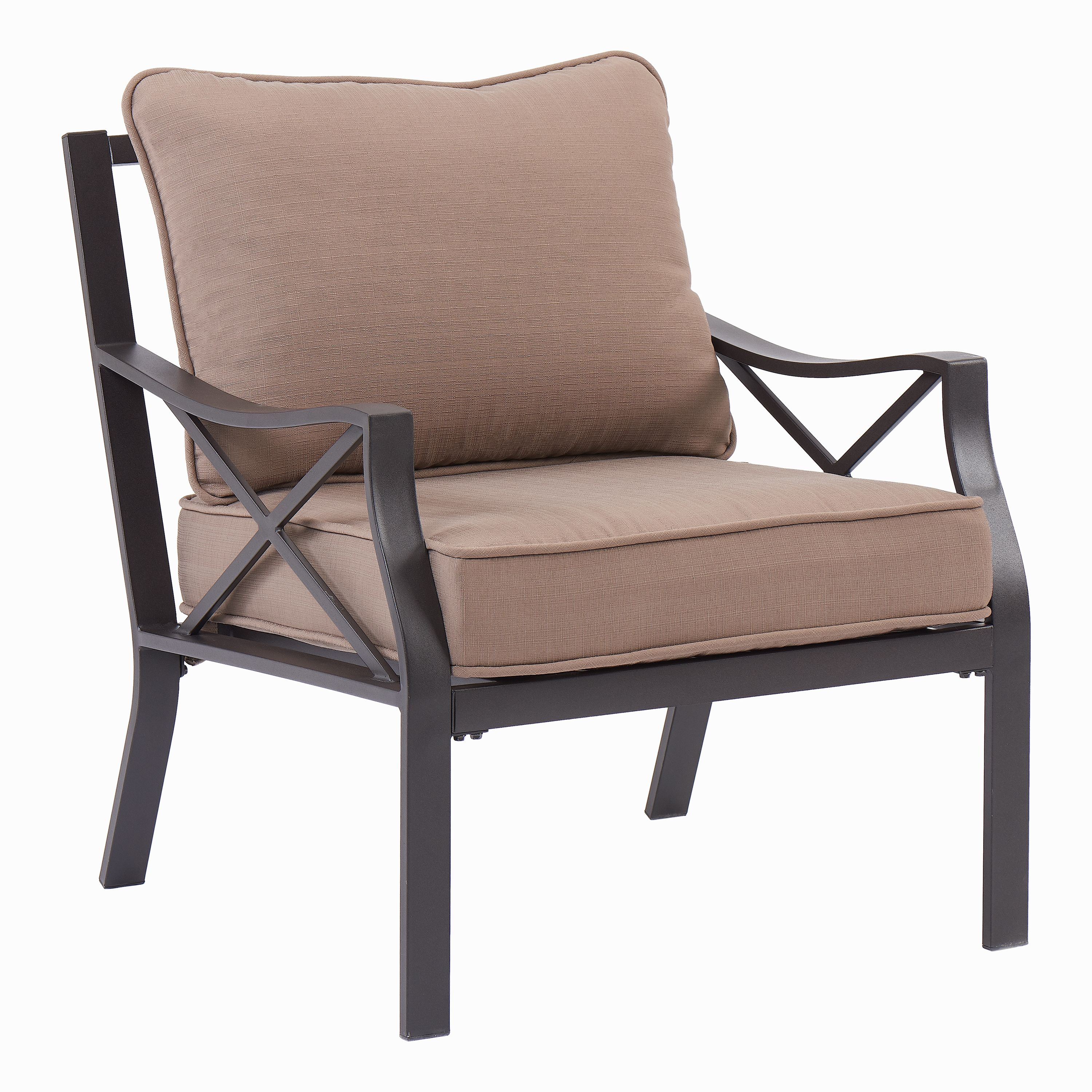 Mainstays Sandhill Patio Lounge Chairs with Mocha Cushions, Set of 2