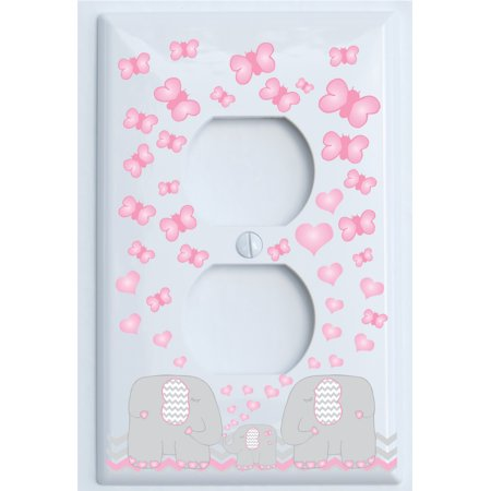 Pink Elephant Switch Plate Outlet Covers / Elephant Nursery Decor with Grey and Pink Chevron Switch Plates with Pink Hearts and Butterflies (Outlet Cover)