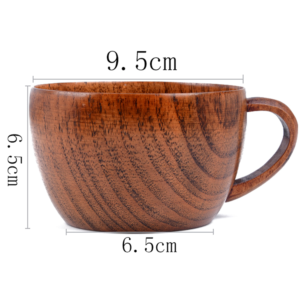 260ml / 8.8 oz Natural Jujube Bar Wooden Cups Mugs With Handgrip Coffee Tea Milk Travel Wine Beer Mugs For Home Bar