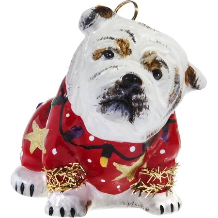 Bulldog in Ugly Christmas Sweater Dog Polish Glass Tree Ornament Pet Decoration