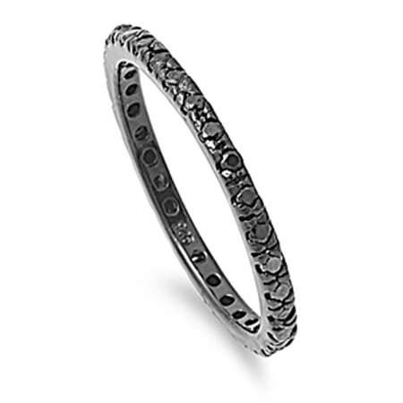 Sterling Silver Eternity Band Black Simulated CZ Thin 2mm Ring Stackable Size 8 (Eternity Band Sterling Silver)