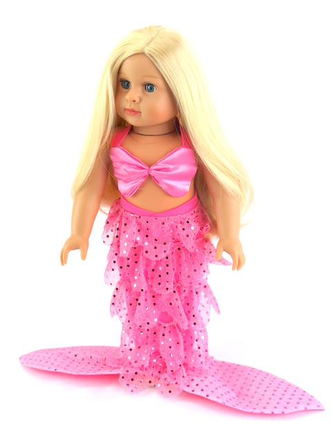 "Emma the Mermaid: Includes Blonde Doll and Mermaid Outfit  -Fits 18"" American Girl Dolls, Madame Alexander, Our Generation, etc. 