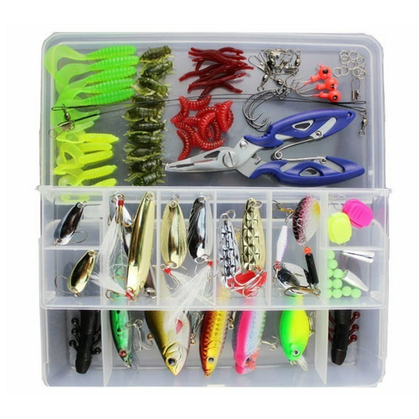 Fishing Lures Assorted Starter Set with Tackle Box, Include Frog Minnow Popper Pencil Crank Spoon Spinner Maggot Shrimp Baits Swivels for Freshwater Trout Bass Salmon