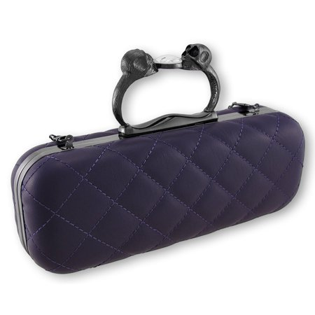 Purple Quilted Vinyl Clutch Purse with Gunmetal Gray Skull Handle Vinyl Purse Handles