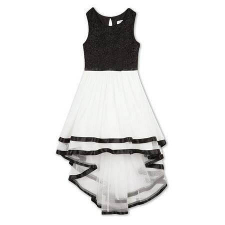 - Lace Bodice Hi-Lo Long Occasion Dress (Big Girls)