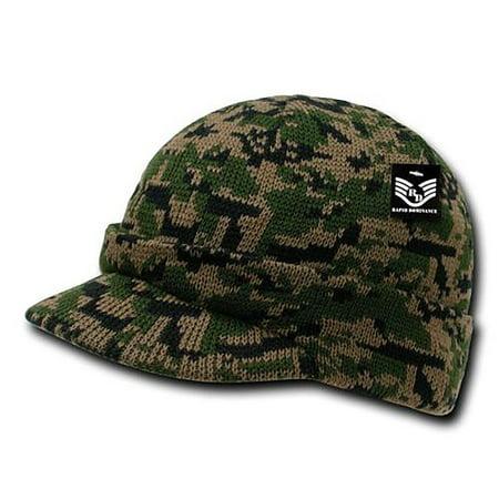 RapDom Jeep Hat Watch Beanie w/ Visor Military Camouflage Camo GI Knit Cap (Woodland Digital) (Jeep Camo Hat)