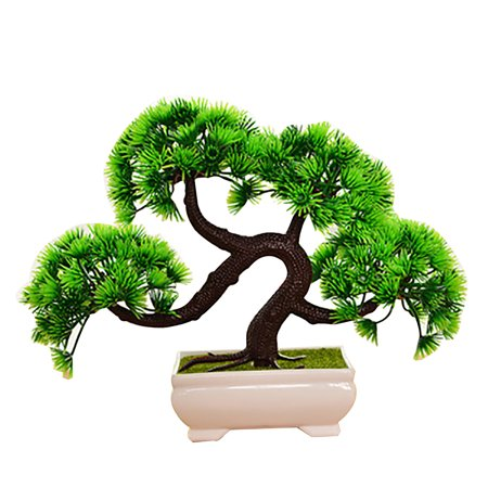 Outgeek Green Artificial Plants Trees Creative Bonsai Fake Plants in Pots Plastic Planter Home Office Desk Decorations for Indoor Outdoor Decor](Desk Decoration)