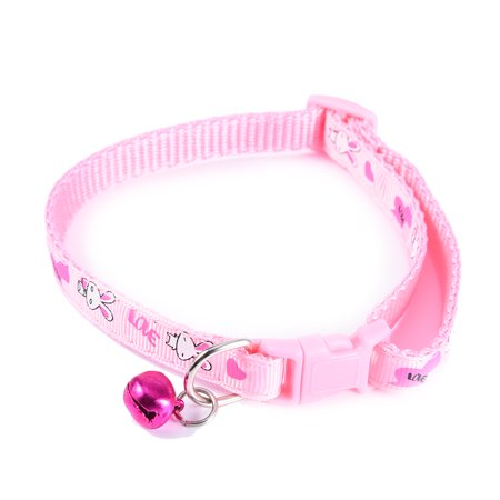 Adjustable Pet Collar Small Dog & Cat Nylon Leashes Necklace with Bell & Rabbit Design, Pink
