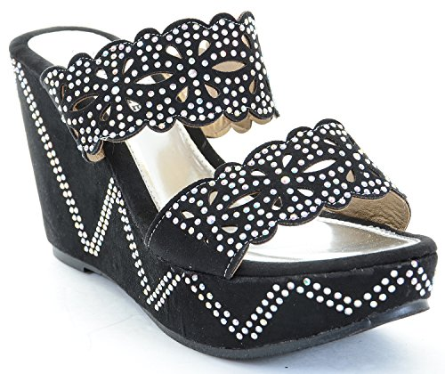 Pattern Cut Out Strap Stones Wedge Platform Sandals
