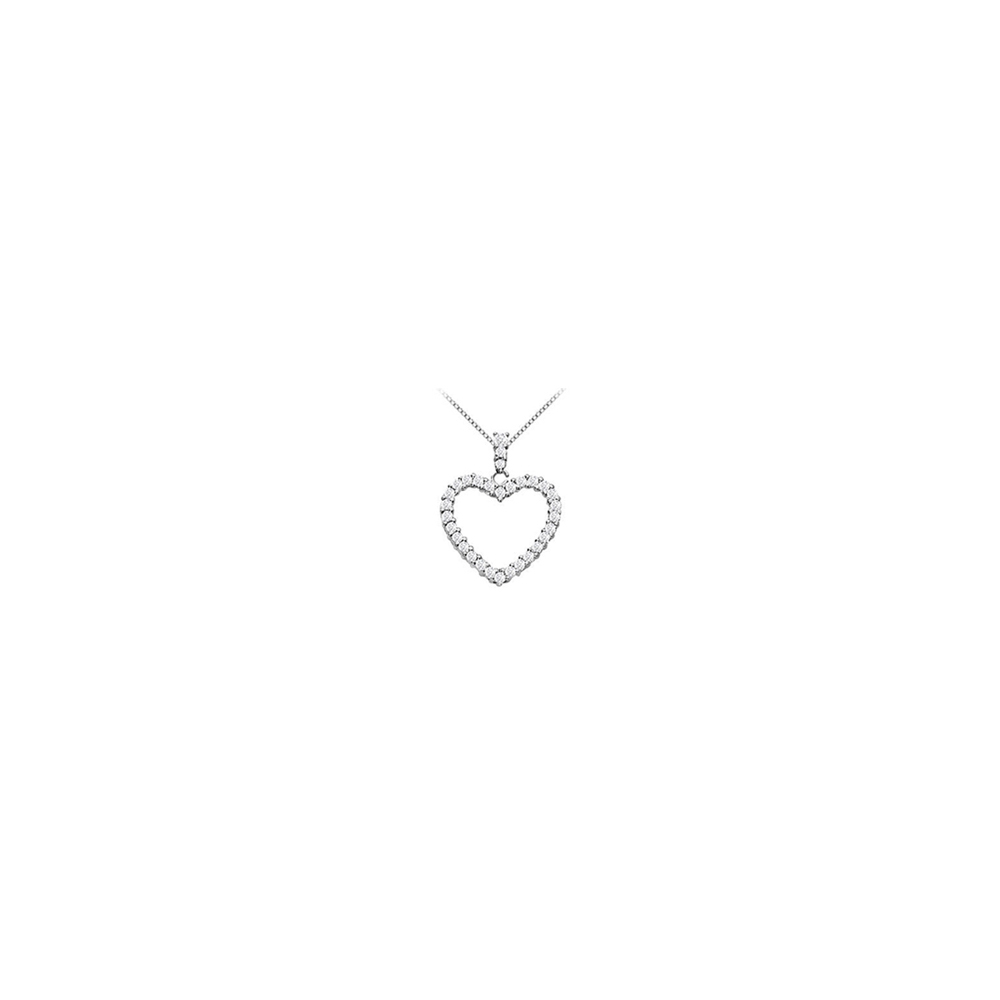 14K White Gold Floating Heart Cubic Zirconia Pendant Necklace 0.50 CT CZ - image 2 of 2