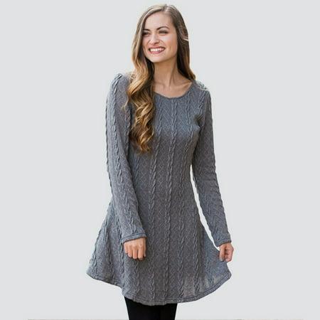Women Fashion Winter Warm Cotton Knit Dress Round Neck Long Sleeve Above Knee Short Dress Ladies Casual Loose Dresses