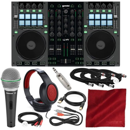 Gemini G4V 4-Channel Virtual DJ Controller and Mixer with Samson Dynamic Microphone, Closed-Back Headphones, and Deluxe - 4 Virtual Instrument