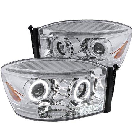Spec-D Tuning New Balck 2006-2009 Ram 1500/2500/3500 Led Dual Halo Projector Headlights 2006 2007 2008 2009 (Left + Right) Dual Projector Headlights