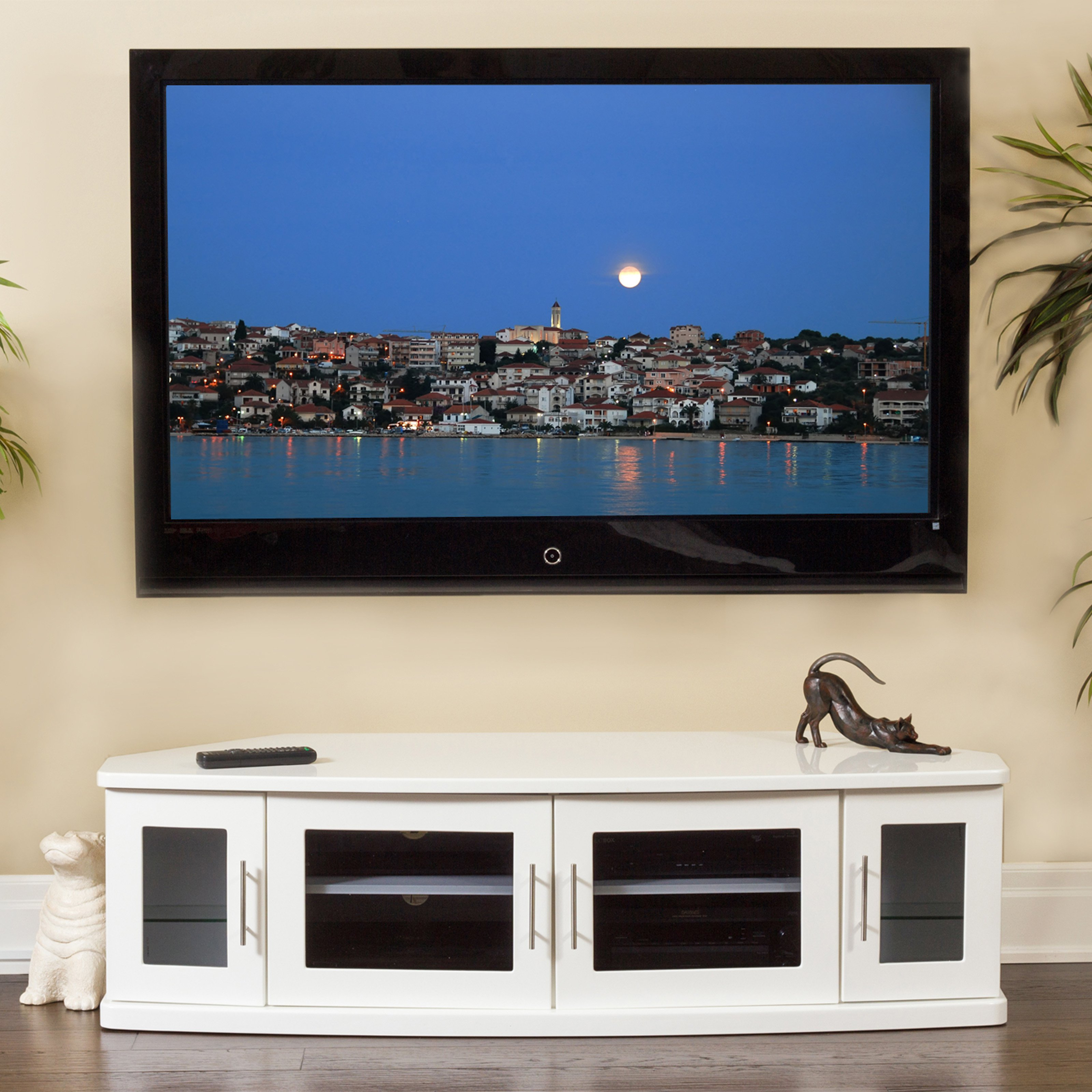 Plateau Newport 62 in. Corner Wood TV Stand - White Finish
