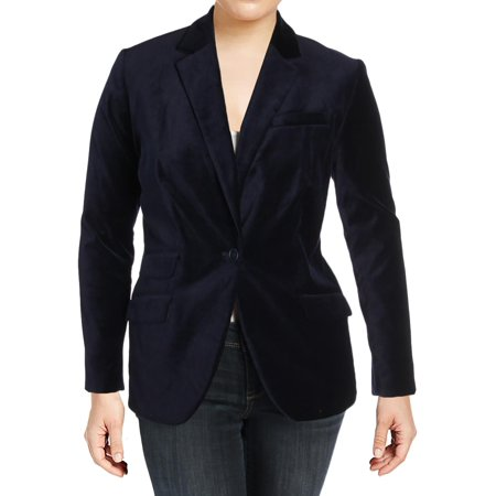 Lauren Ralph Lauren Womens Plus Drosom Velvet Career Wear One-Button Blazer
