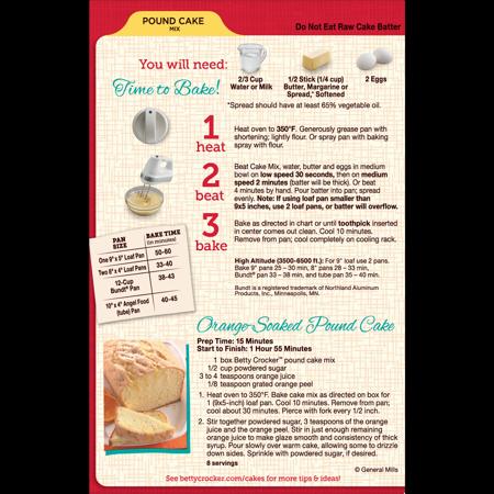 Betty Crocker Pound Cake Mix 16 Oz Box