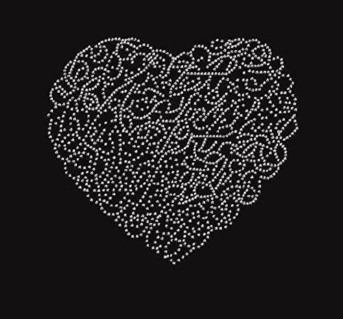 Bling Valentine's Day Winding Heart Rhinestone Iron on Transfer