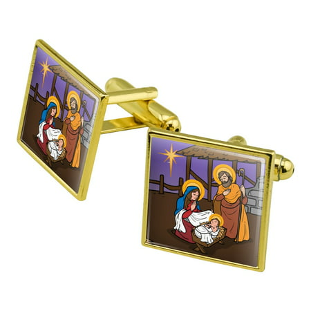 Nativity Scene Baby Jesus Mary Joseph Christmas Christian Bible Square Cufflink Set Gold Color