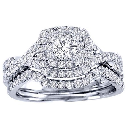 Ginger Lyne Collection Frances Sterling Silver Halo Pave Engagement Ring Wedding Band Bridal Set Bridal Set Silver Ring