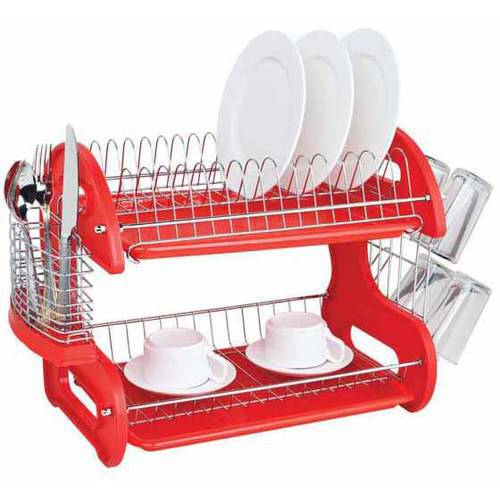 Home Basics Dish Drainer 2-Tier Plastic, Red