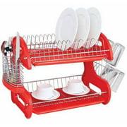 Home Basics Dish Drainer 2-Tier Plastic, Red