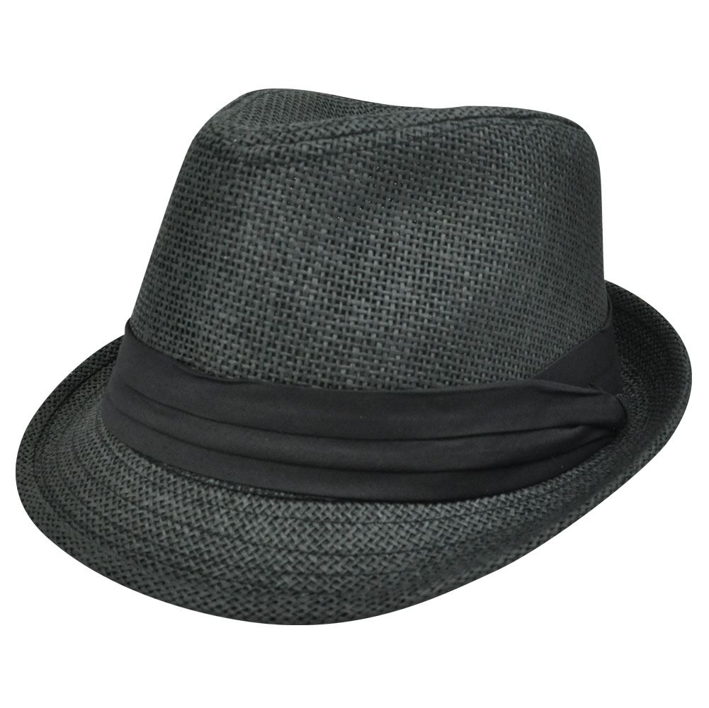 FEDORA TRILBY CHARCOAL GREY PAPER HAT SMALL MEDIUM