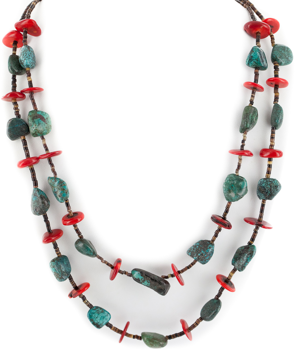 Large $450 Retail Tag 2 Strand Authentic Made by Charlene Little Navajo .925 Sterling Silver Natural Turquoise Coral... by