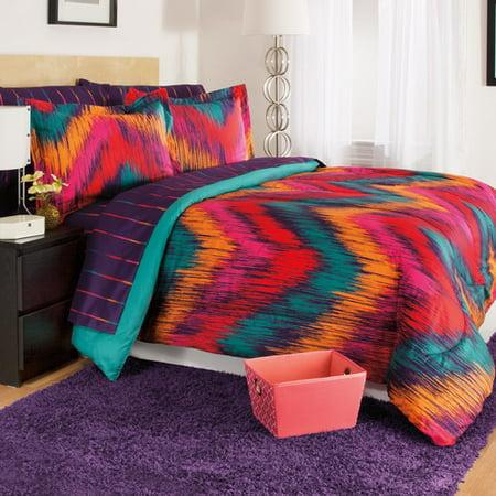 Josh   Posh Kidz Chevron Tie Dye Berry 3 Piece Comforter Set