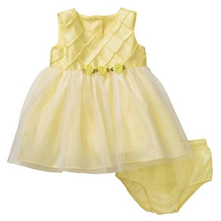 Infant Girls Yellow Satin & Tulle Rosette Easter & Holiday Baby Dress