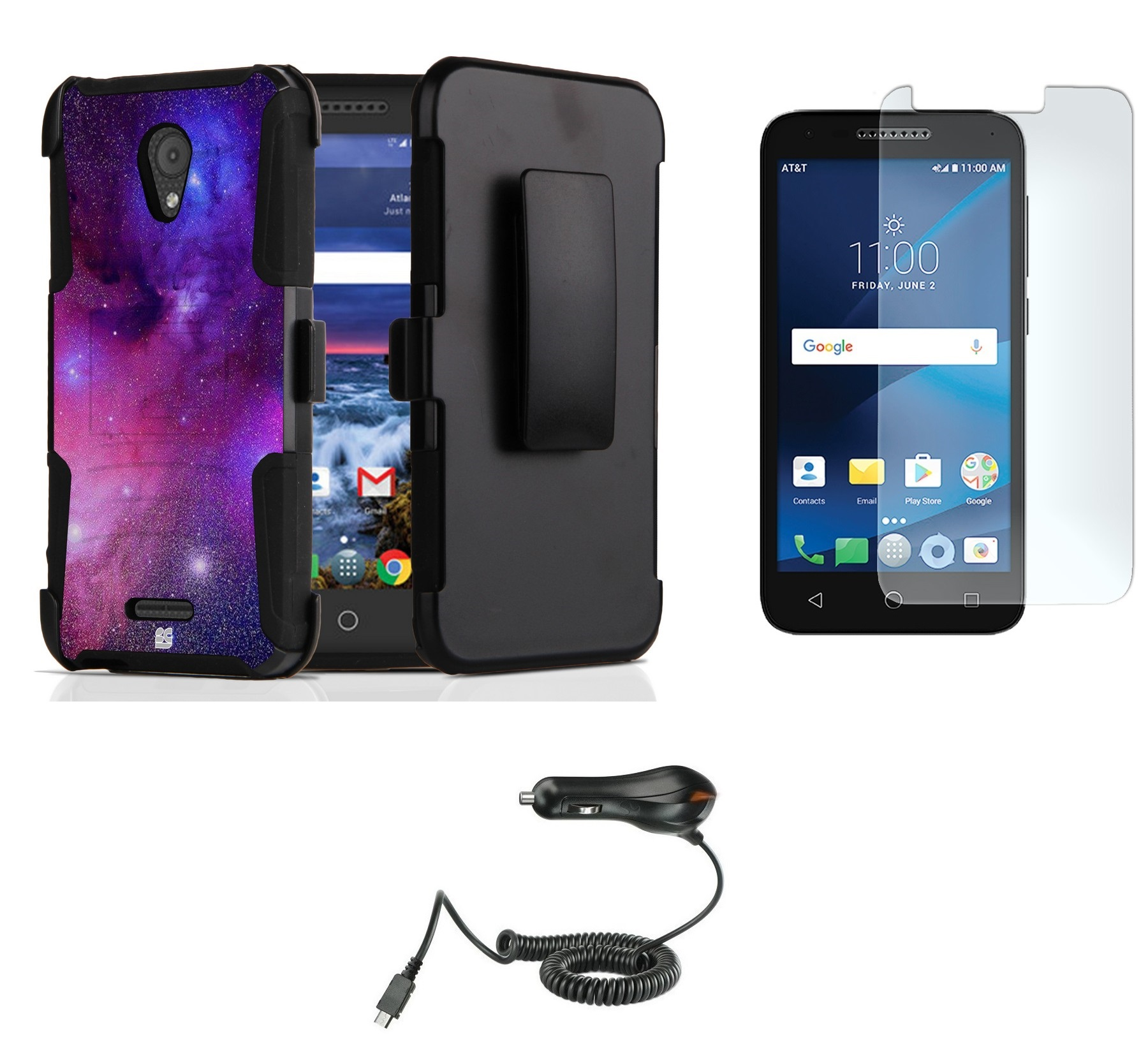 Alcatel Raven LTE | Verso | IdealXCITE | CAMEOX - Bundle: Shockproof Kickstand Belt Holster Case - (Nebula), Bubble-Free Tempered Glass Screen Protector, Micro USB Car Charger and Atom Cloth