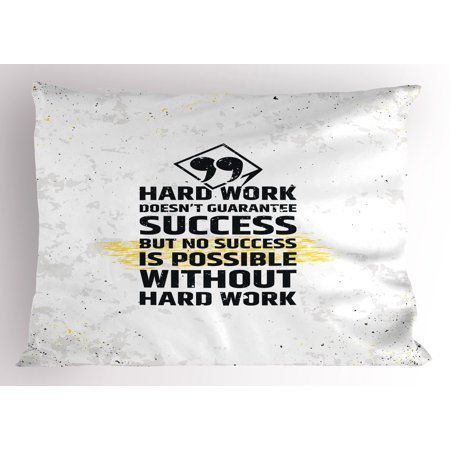 motivational pillow sham hard work success inspirational quote