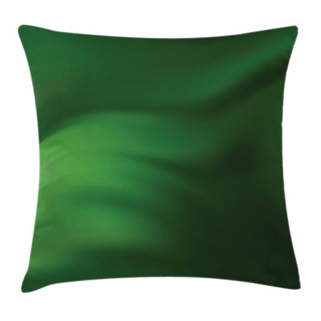 Green Wave - Forest Green Throw Pillow Cushion Cover, Abstract Pattern with Color Wave in Green Shades and Ombre Effect, Decorative Square Accent Pillow Case, 18 X 18 Inches, Forest Green Pale Green, by Ambesonne