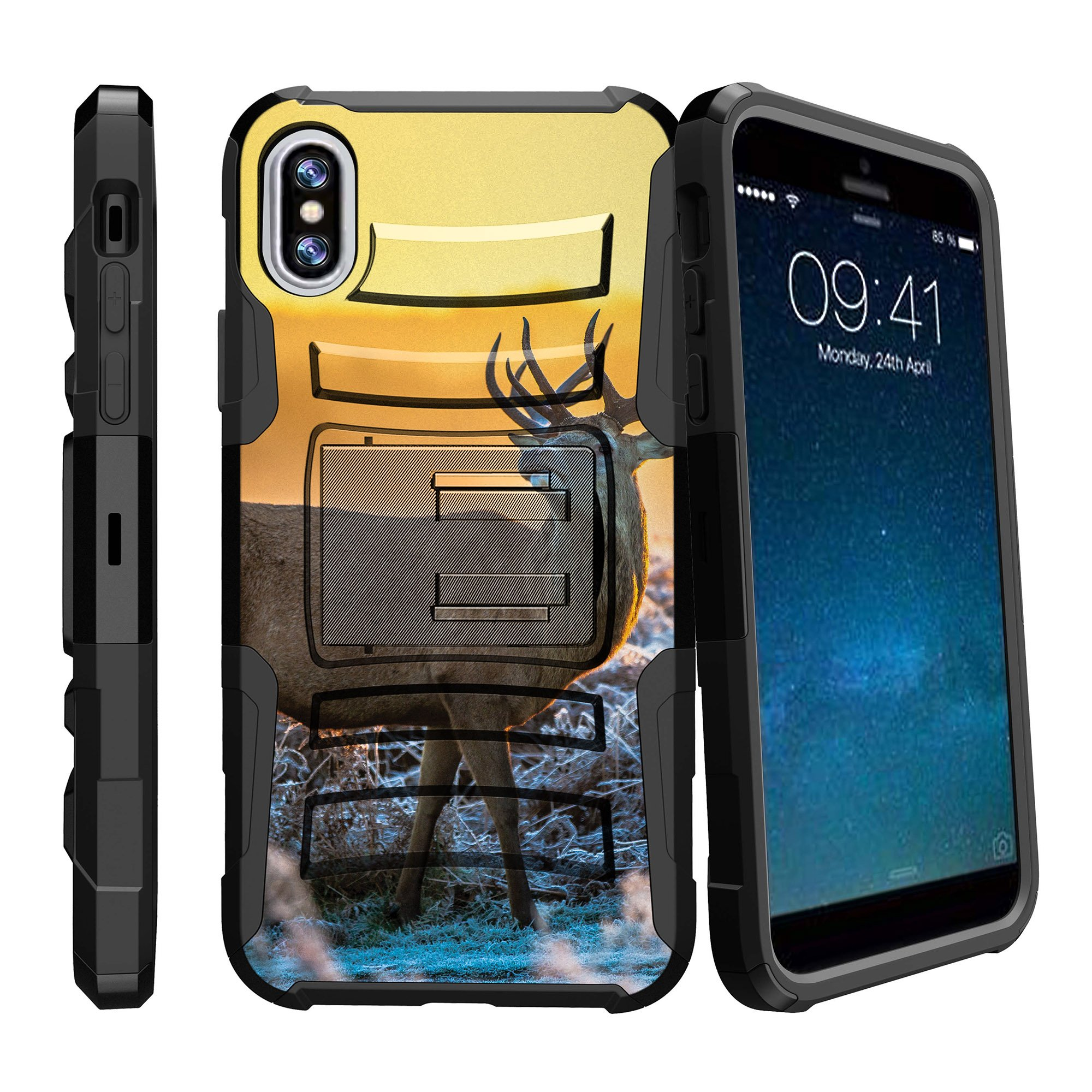 iPhone X Hard Shell Case , Rugged Apple iPhone X Cover [Clip Armor] Rugged Holster & Built-In Kickstand Feature Combo Case for iPhone X - Grazing Deer Sunset