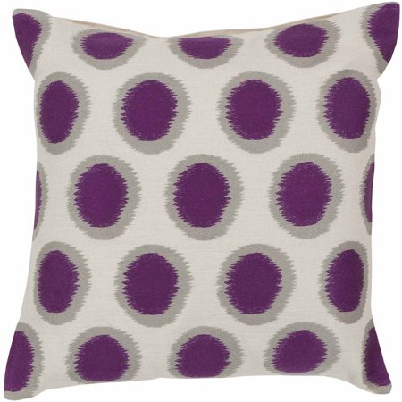Art of Knot Amory Hand Crafted Satin Embroidery Circles Linen Decorative Pillow with Poly Filler, Violet