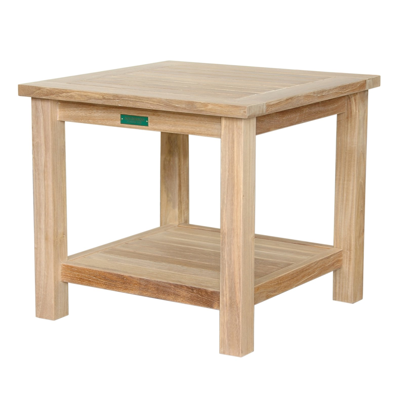 Anderson Teak 22 in. Two Tier Outdoor Side Table