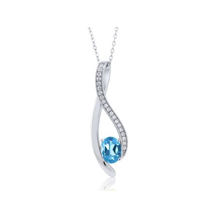 1.42 Ct Oval Blue Tanzanite 925 Sterling Silver Pendant ()
