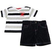 Beverly Hills Polo Club Baby Boys V-Neck Tee Shirt With Denim Short Set