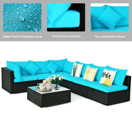 Gymax 7PCS Rattan Patio Conversation Set Sectional Furniture Set w/ Blue Cushion - image 2 of 10