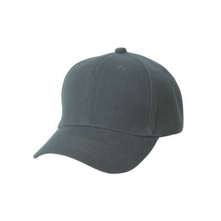 Plain Men's Baseball Hat with Adjustable Hook and Loop Closure, Charcoal - Plain Birthday Hats