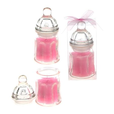 Pink Baby Bottle Candle Favor Baby Shower It's A Girl Decoration 10 Count - Baby Girl Shower Favors