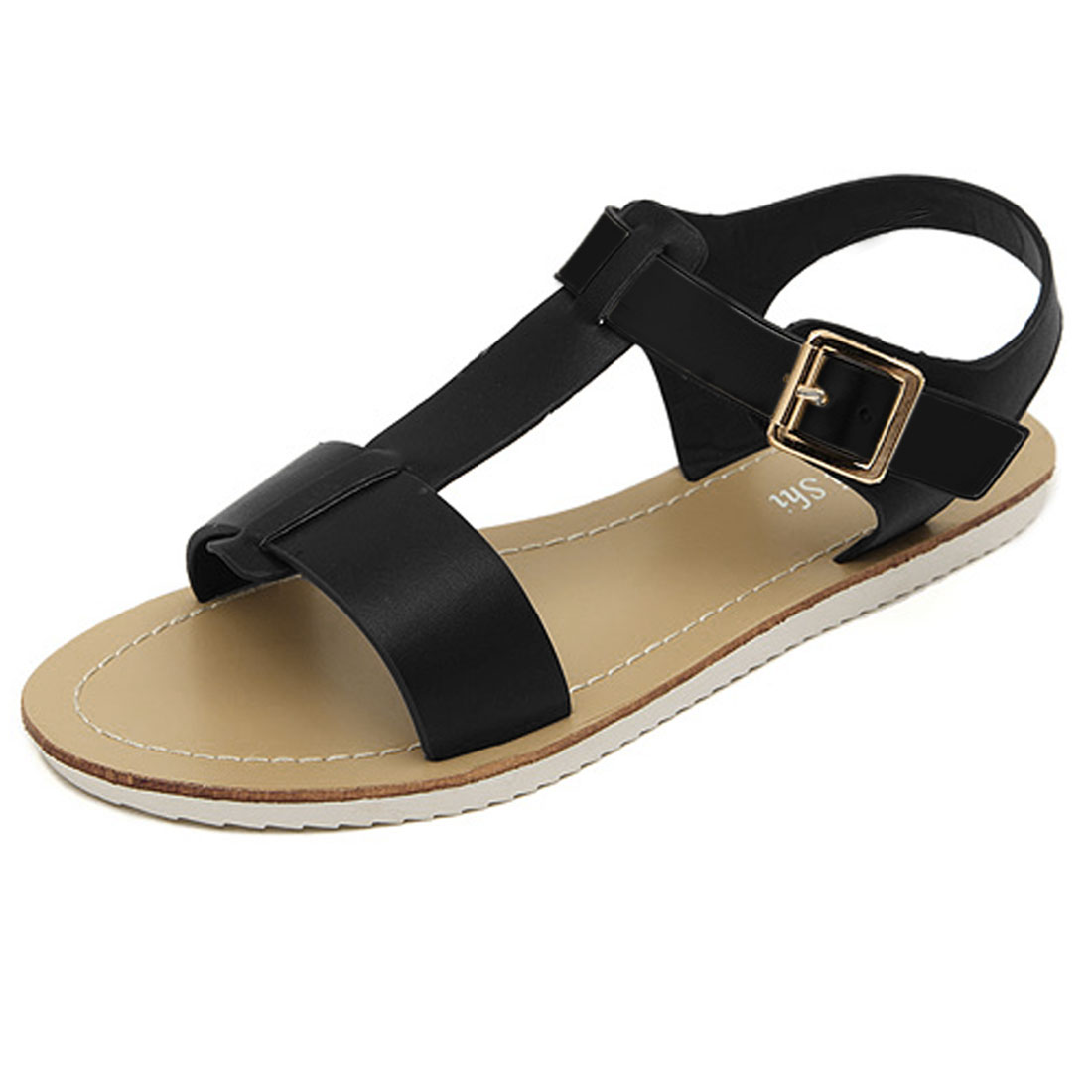Ladies Non-skid Rubber Sole Peep Toe Flat Sandals Black US 7.5