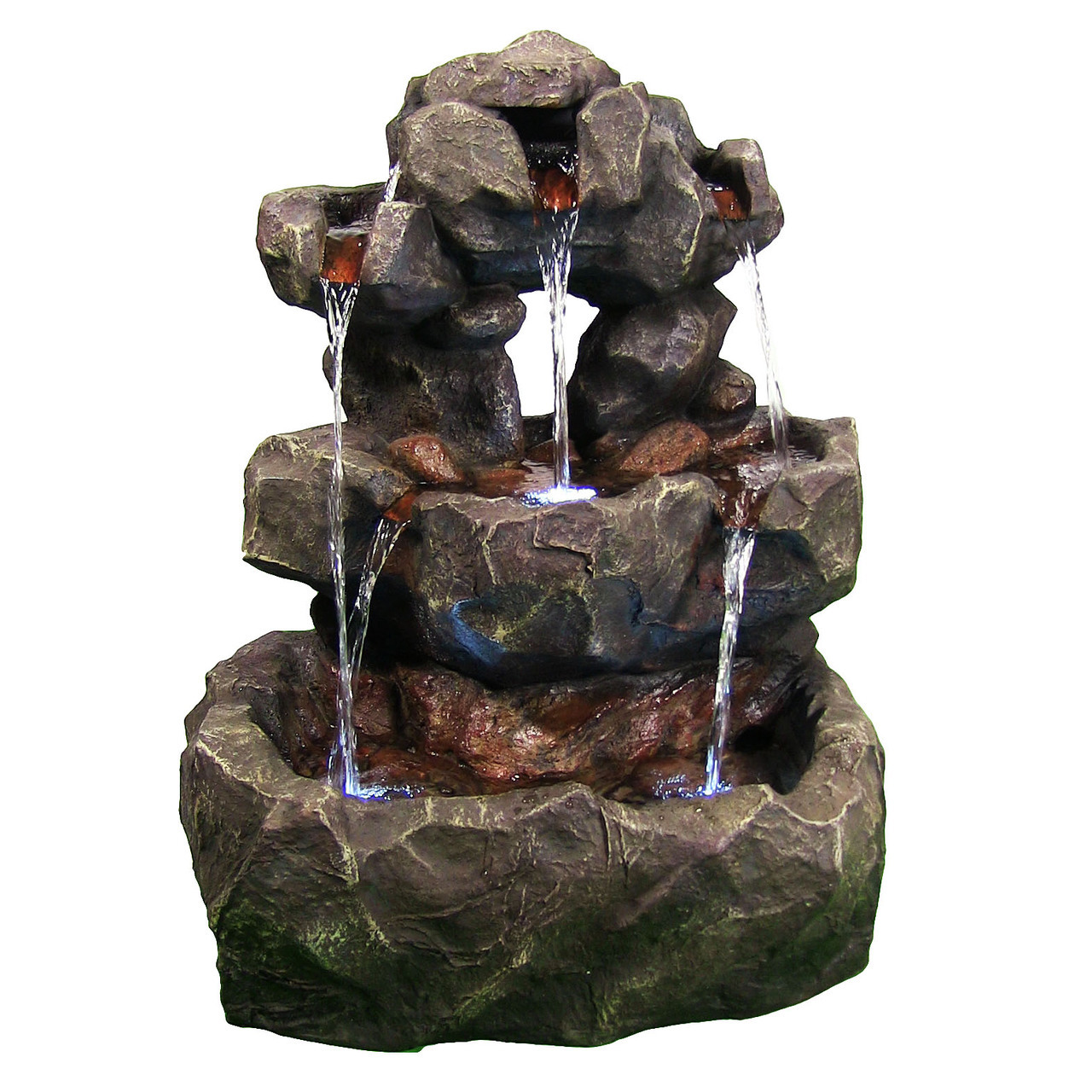 Sunnydaze Layered Rock Waterfall Outdoor Fountain with LED Lights, 32 Inch Tall, 819804016236