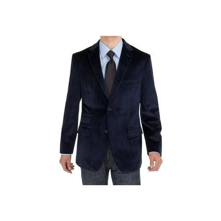 Navy Blue Suit Jacket (Salvatore Exte Mens Two Button Blazer Modern Fit Velvet Side-Vent Suit Jacket Navy Blue )