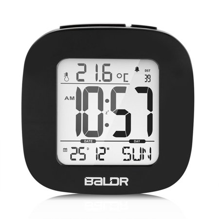 Baldr Mini Lcd Digital Travel Desk Alarm Clock Snooze Temperature Calendar Backlight Black