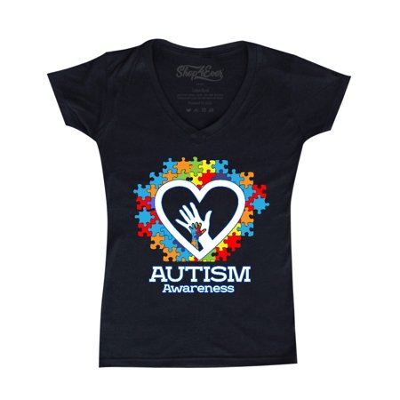 Shop4Ever Women's Autism Awareness Hands Puzzle Heart Slim Fit V-Neck T-Shirt